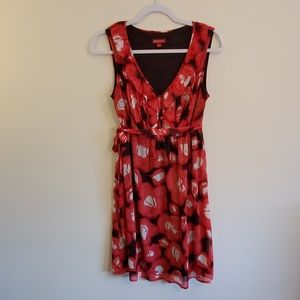 Merona, size small, red/white/brown(black) dress